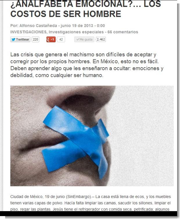 ¿ANALFABETA EMOCIONAL … LOS COSTOS DE SER HOMBRE   Sin Embargo
